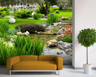Asian Garden And Pond Wall Mural