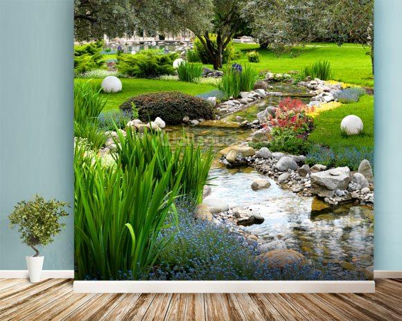 Asian garden and pond wallpaper wall mural wallsauce usa for Asian mural wallpaper
