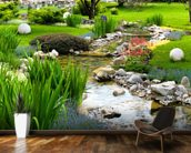 Asian Garden and Pond mural wallpaper kitchen preview