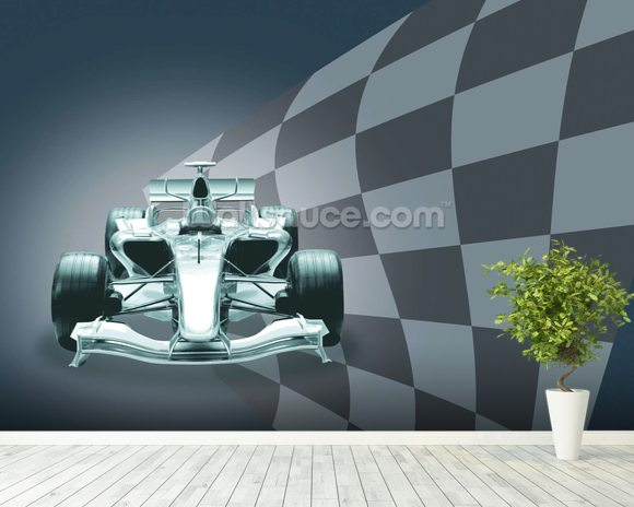 Formula 1 Car and Flag wallpaper mural room setting