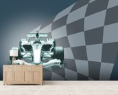Formula 1 Car and Flag wallpaper mural living room preview