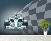 Formula 1 Car and Flag wallpaper mural in-room view