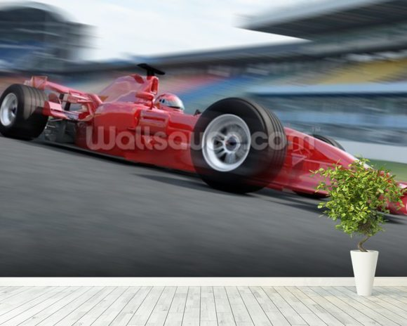 F1 Racer mural wallpaper room setting