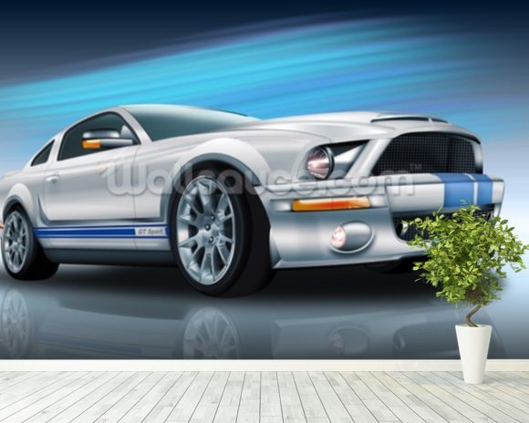 American Muscle Cars Wallpaper Mural Room Setting