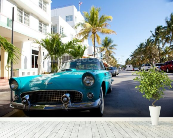 Miami Classic Car mural wallpaper room setting
