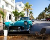 Miami Classic Car mural wallpaper kitchen preview