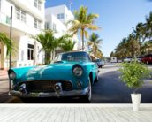 Miami Classic Car mural wallpaper in-room view