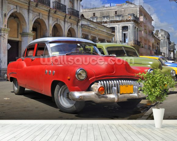 Cuba Classic Cars wall mural room setting