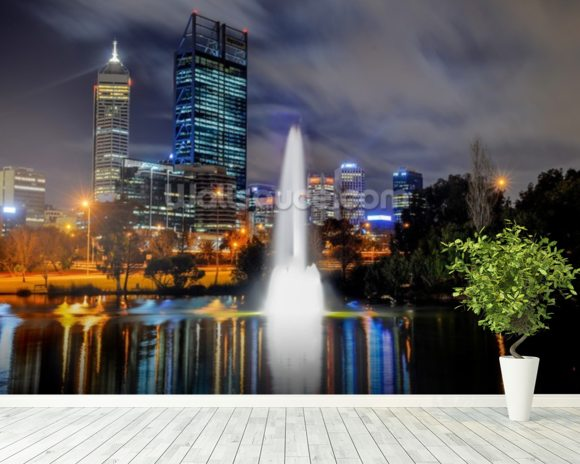 Perth City at Night wallpaper mural room setting