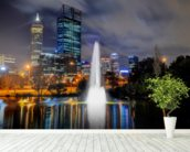 Perth City at Night wallpaper mural in-room view