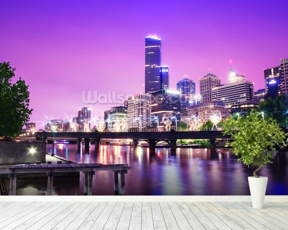 Melbourne at Night mural wallpaper room setting