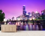 Melbourne at Night mural wallpaper living room preview