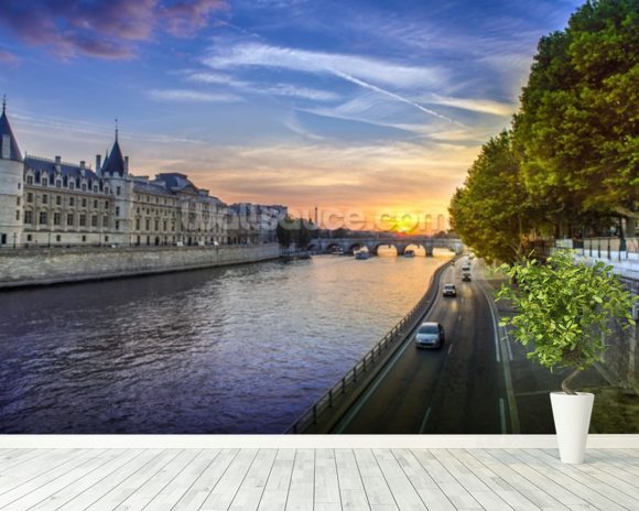 Seine Sunset wall mural room setting