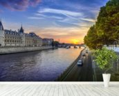 Seine Sunset wall mural in-room view