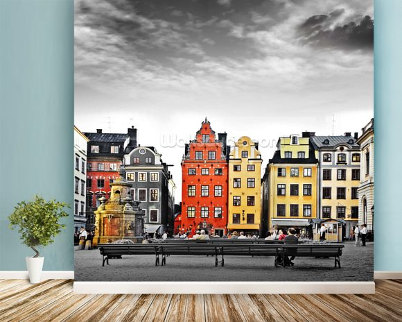 Stockholm Colourwash wall mural room setting