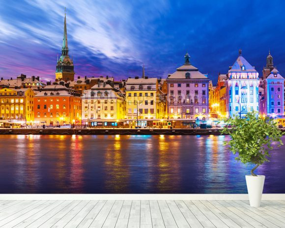 Stockholm Waterfront wallpaper mural room setting