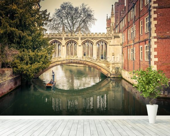 Bridge over River, Cambridge wallpaper mural room setting