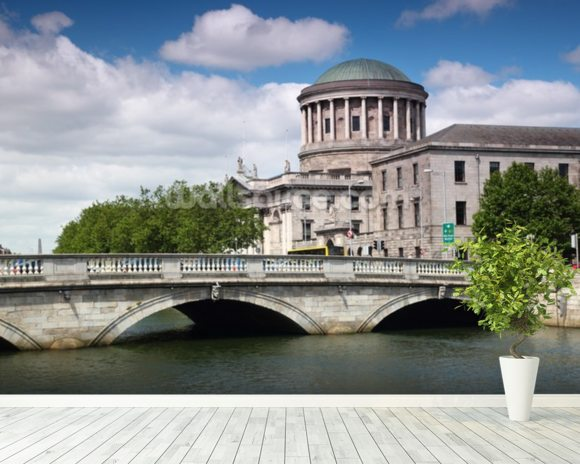 O'Donovan Rossa Bridge & Four Courts wall mural room setting