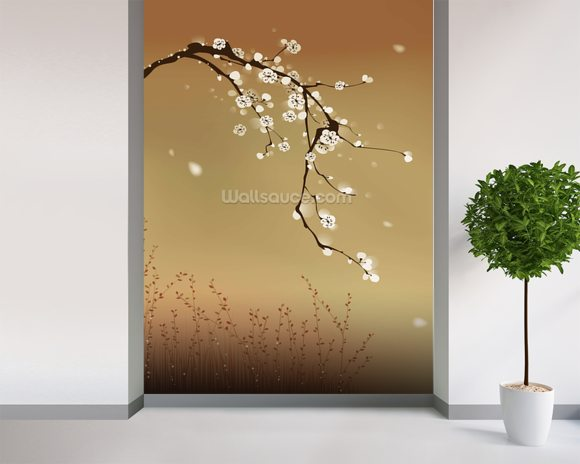 Plum Blossom wallpaper mural room setting