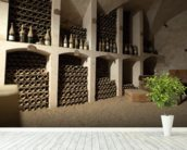 Castle Wine Cellar mural wallpaper in-room view