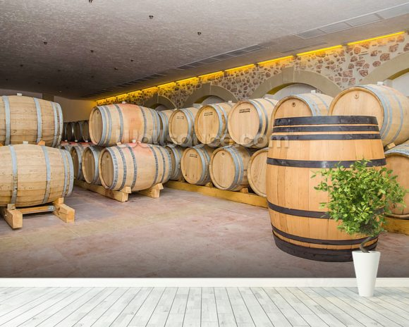 Barrels of Wine wall mural room setting