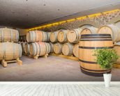 Barrels of Wine wall mural in-room view