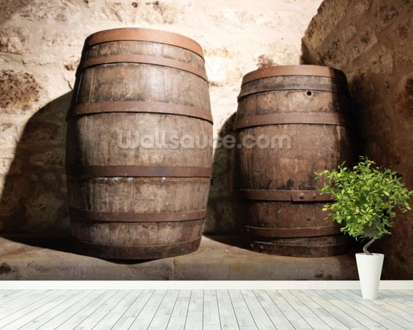 Wood Barrel mural wallpaper room setting