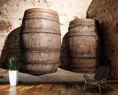 Wood Barrel mural wallpaper kitchen preview