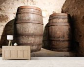 Wood Barrel mural wallpaper living room preview