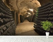 Wine Cellar Cave wall mural in-room view