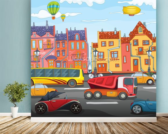 Cartoon city wallpaper wall mural wallsauce for Cartoon mural wallpaper