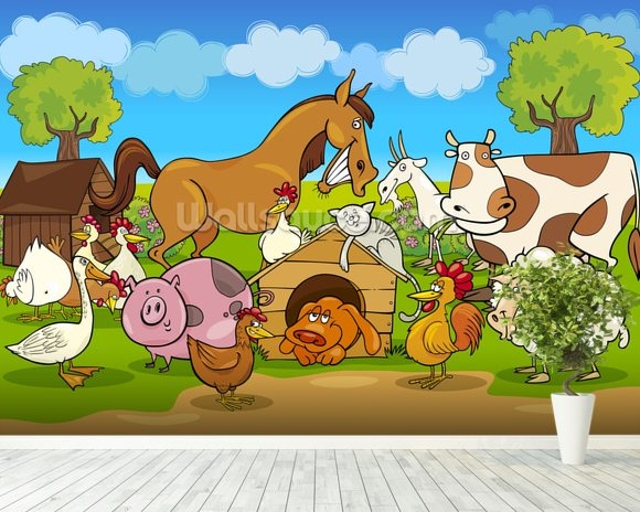 Farm Animals wall mural room setting