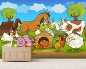 Farm Animals wall mural living room preview