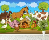 Farm Animals wall mural in-room view