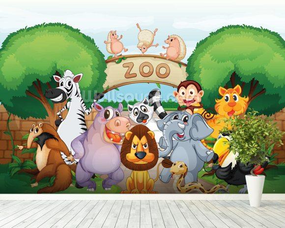 Animal zoo wallpaper wall mural wallsauce for Animal mural wallpaper