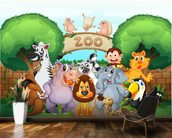 Animal Zoo wallpaper mural kitchen preview