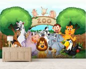 Animal Zoo wallpaper mural living room preview