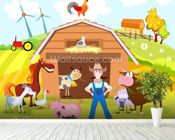 Farm mural wallpaper room setting