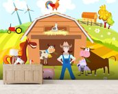Farm mural wallpaper living room preview