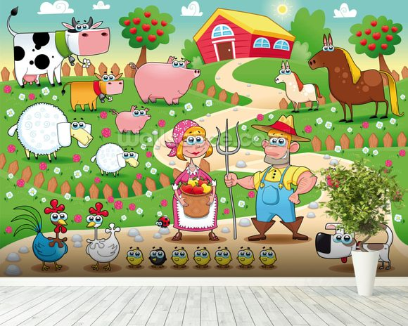 Country Farm mural wallpaper room setting