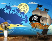 Pirates and Moon wallpaper mural kitchen preview