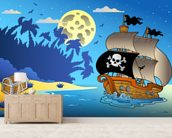 Pirates and Moon wallpaper mural living room preview