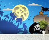 Pirates and Moon wallpaper mural in-room view