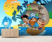 Kids Pirates mural wallpaper living room preview