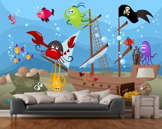 Sunken Pirate Ship mural wallpaper