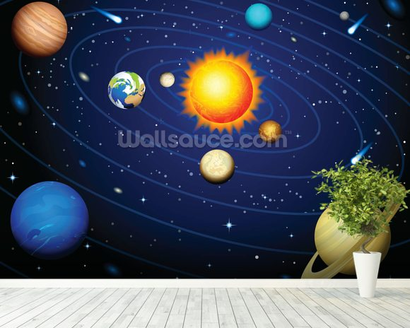 Colourful Solar System Wall Mural Room Setting