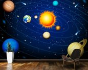 Colourful Solar System wall mural kitchen preview