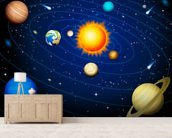Colourful Solar System wall mural living room preview