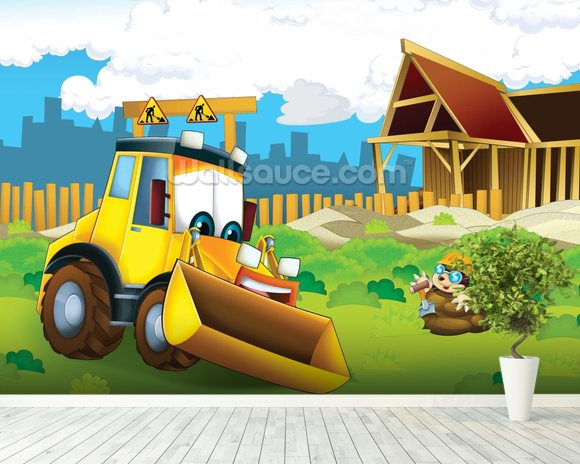 Cartoon Digger mural wallpaper room setting