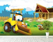 Cartoon Digger mural wallpaper in-room view
